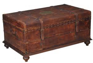 Wooden Trunk Coffee Table 43 Quot W Italian Distressed Leather Trunk Coffee Table Wood Iron Brass Details Ebay