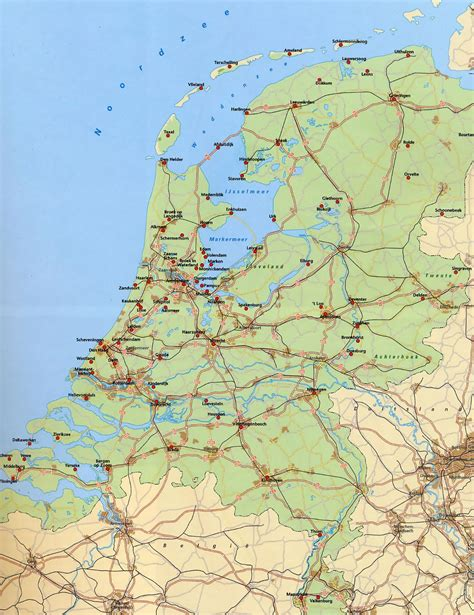 netherlands large map large map of netherlands with roads railroads and major