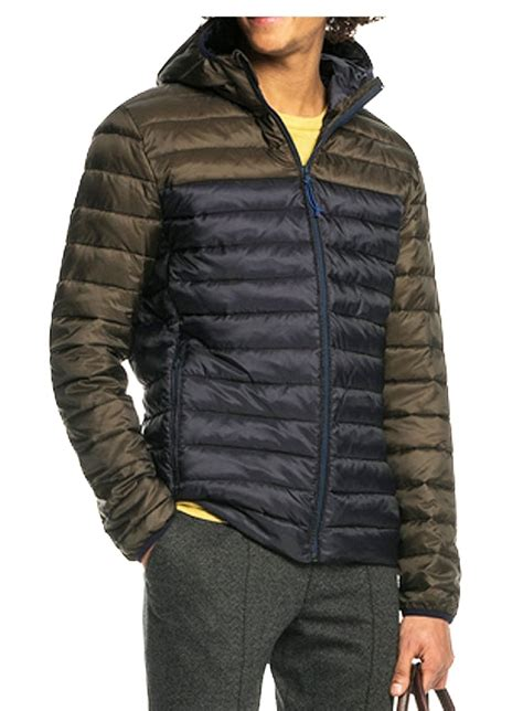 scotch soda quilted hooded jacket navy khaki