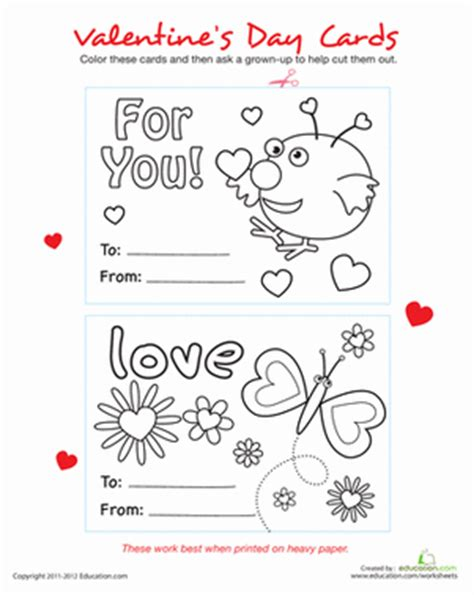 Pre K S Day Cards Templates by Make Your Own Valentines Cards Worksheet Education