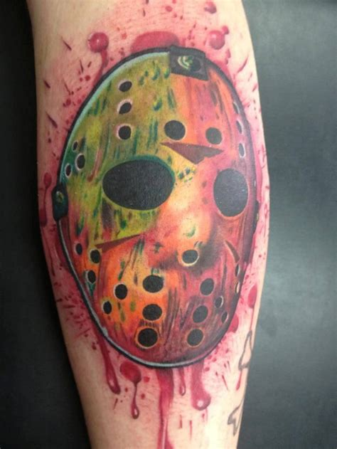 bloods tattoos colorful jason mask with blood