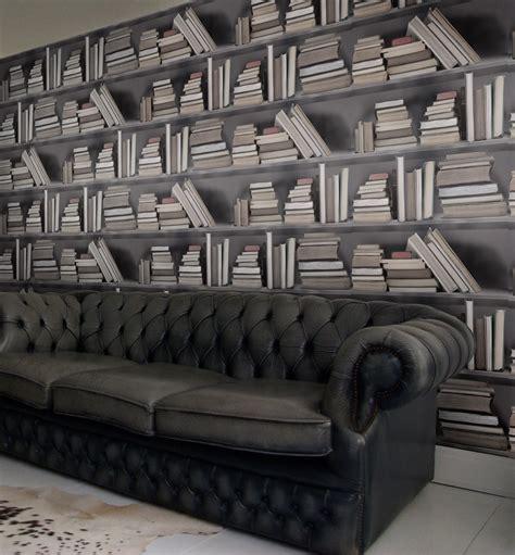wallpaper bookshelves carta da parati trompe l oeil vintage bookshelf by mineheart