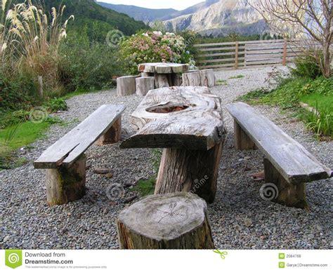 picnic seating area stock photo image  wood seat