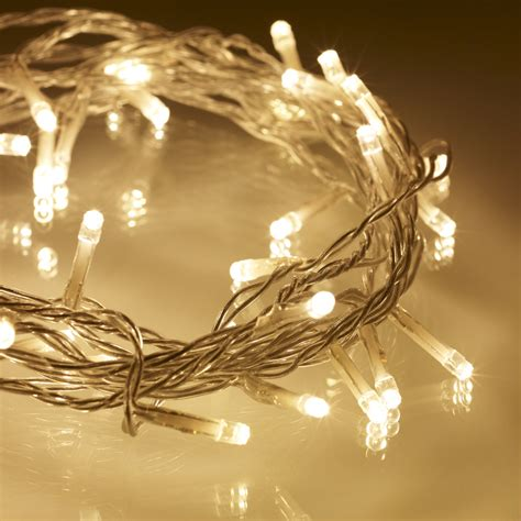 40 Warm White Led Indoor Fairy Lights On Clear Cable