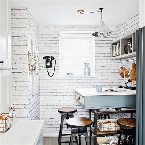 Kitchen Design Wallpaper industrial style kitchen with white brick effect wallpaper