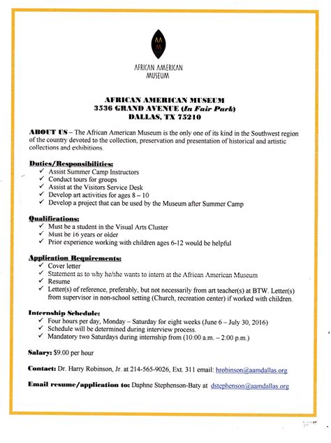 cover letter for museum internship museum director cover letter daily sales activity