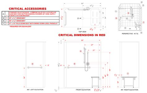Ada Shower Requirements by Les6333a75b One 63 Quot X 34 Quot Ada Compliant Roll In