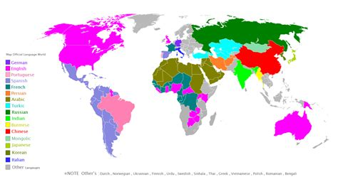 official speaking countries file official languages map png