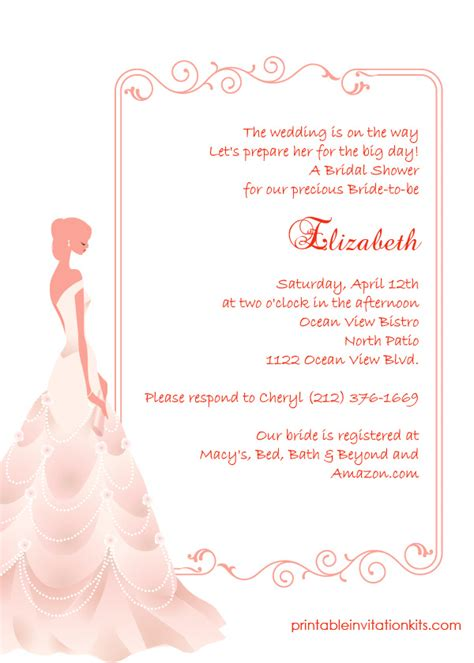 printable wedding shower invitations online bridal shower invitations free elegant bridal shower