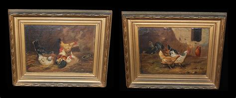 antique paintings for sale pair of chicken paintings for sale antiques