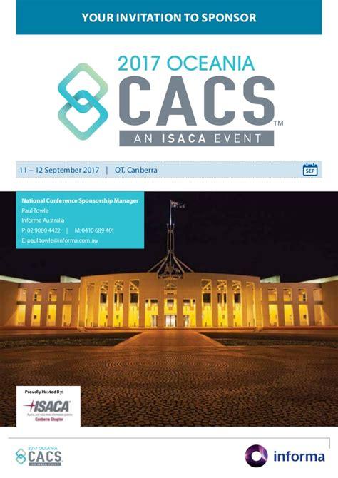 isaca oceania cacs 2017 sponsorship prospectus