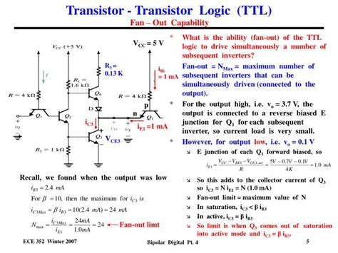 transistor resistor logic ppt voltage transfer characteristic for ttl powerpoint presentation id 550028