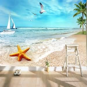 Tropical Beach Wall Mural aliexpress com buy charming sunny beach wallpaper ocean