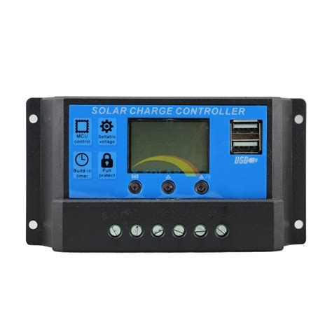 3solar Carger Contrpller 10a Usb pwm 10a solar charge controller 12v 24v lcd dual usb 5v mobile charger solar panel battery