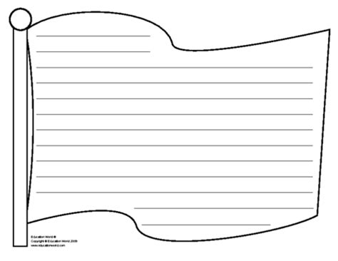 american writing paper flag template education world flag shapebook lined