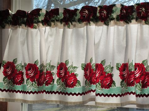 red and turquoise curtains red and turquoise retro curtain valance new fabric
