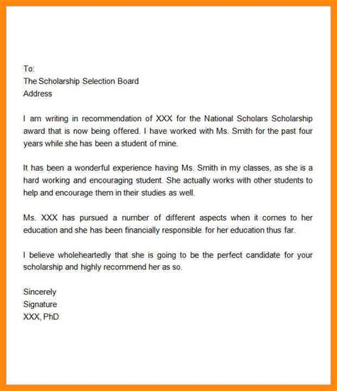 Scholarship Recommendation Letter Sle Free letter for scholarship in nursing 28 images nursing