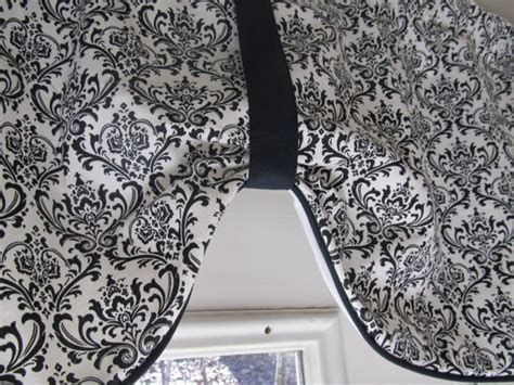 black and white swag curtains country style black and white damask swag window curtain