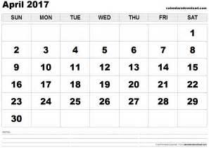 April Calendar Template by April 2017 Calendar Template Weekly Calendar Template
