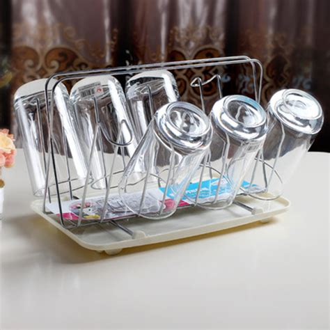 Water Bottle Drying Rack by Stainless Steel Square Cup Holder With Tray Bottle Drying