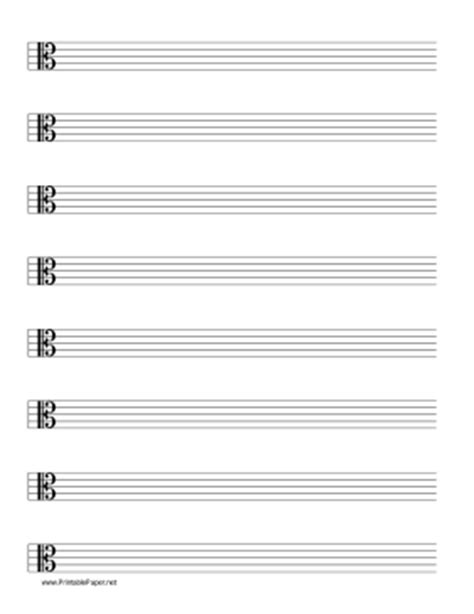 Printable Blank Sheet Music Alto Clef | printable staff alto clef music paper