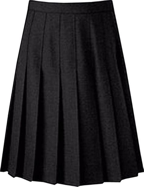 knife pleat school skirt knee length black grey