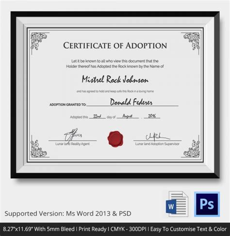 adoption certificate adoption certificate template 12 free pdf psd format