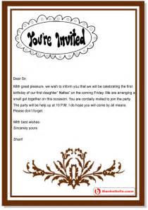 invitation letter sle format template exle