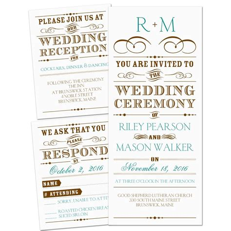 Wedding Ceremony Types by Vintage Type 3 For 1 Invitation Invitations By