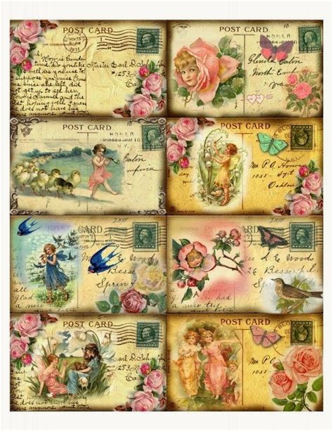 shabby chic postcards printables pinterest