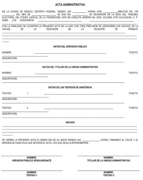 machote de acta administrativa dof diario oficial de la federaci 243 n