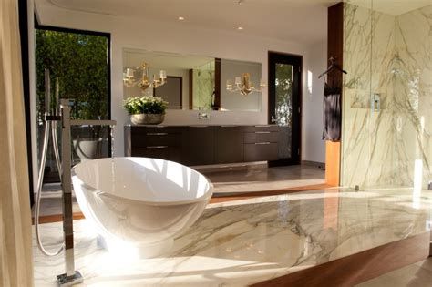 modern style master bathroom opens to hollywood hills view before and after luxe contemporary master suite kym