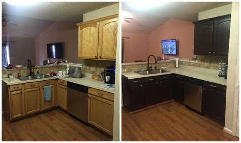 restain kitchen cabinets before and after refinish kitchen cabinets recoating glazing stain diy