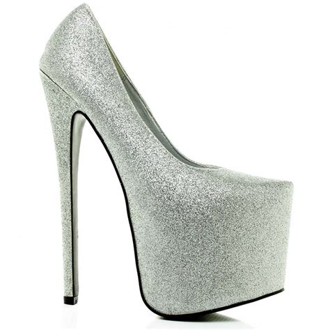 buy attitude stiletto heel platform court shoes silver