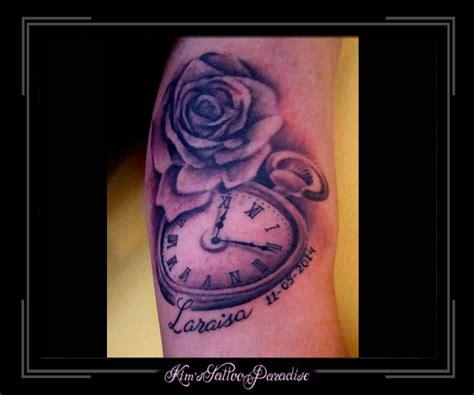 tattoo arm klok klok en roos arm kim s tattoo paradise