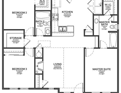 bedroom blueprint 50 3 bedroom open floor plan ranch house floor plans 1