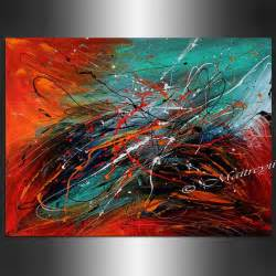 abstract art large artwork red teal turquoise contemporary