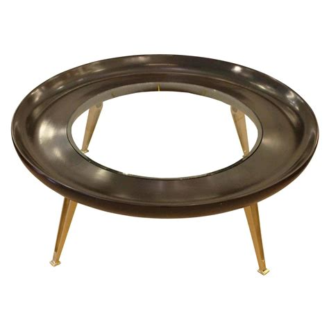 Large Wood Coffee Table Large Brass And Wood Coffee Table At 1stdibs