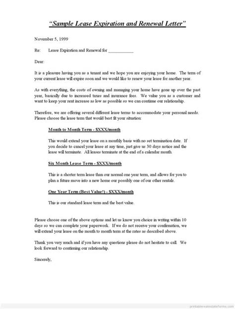 Letter Of Credit For A Lease Printable Sle Lease Expiration And Renewal Letter Standard 2 Template 2015 Sle Forms