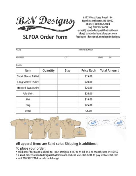 clothing order form template images