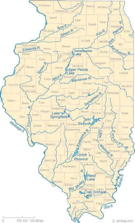 physical map of illinois map of illinois lakes streams and rivers