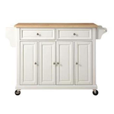 home depot kitchen islands crosley 52 in wood top kitchen island cart in white kf30001ewh the home depot