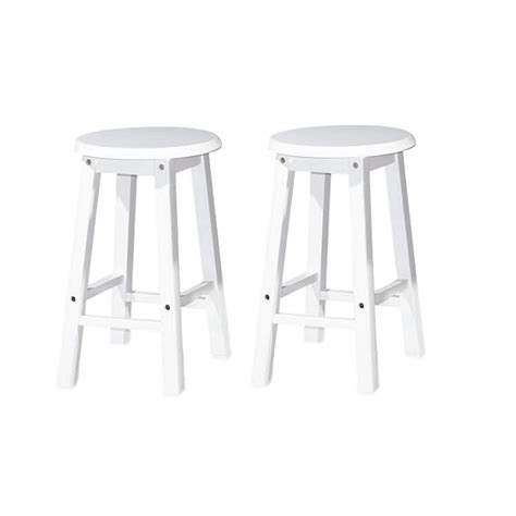 18 Inch Stool White by X 2units Uhome 18 Inch Rounded Wooden Bar Stool Chair