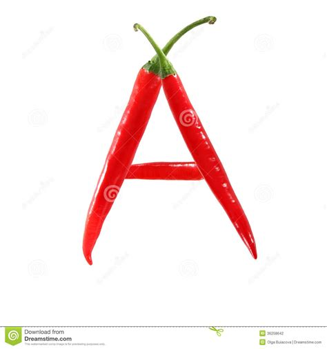 hot pepper 7 letters font made of hot red chili pepper isolated letter a