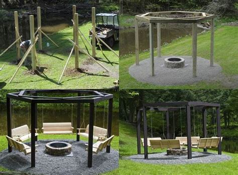 diy backyard pit with swing seats icreativeideas