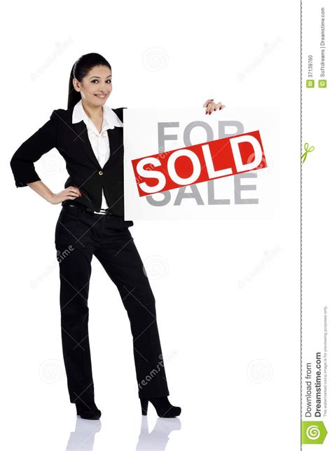sold one womans true real estate woman holding for sale sold sign stock photo image of attractive 37139760