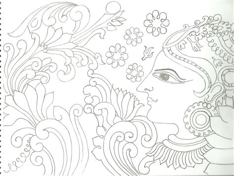 Drawing Outlines For Painting by Kerala Mural Painting Pencil Sketches Kerala Mural Painting Pencil Sketches Drawing Of Sketch