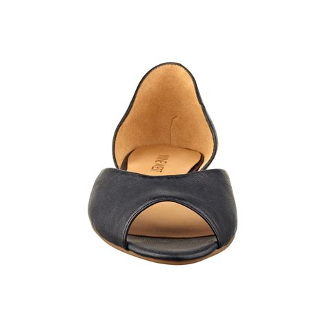 nine west byteme peep toe flats in black lyst