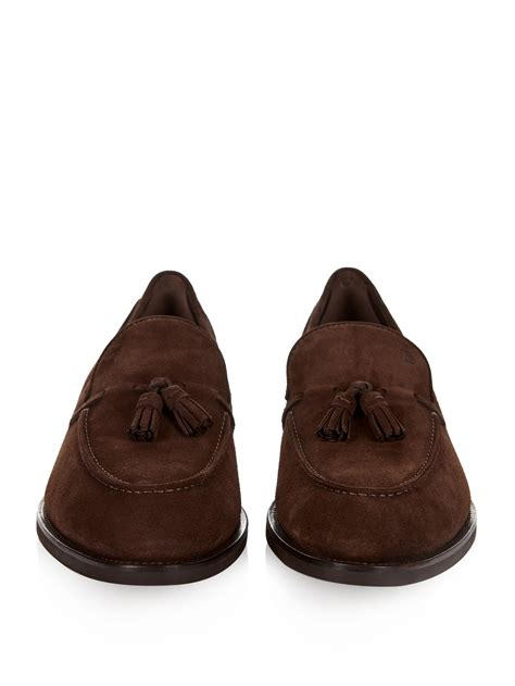 brown tassel loafers tod s tassel suede loafers in brown for lyst