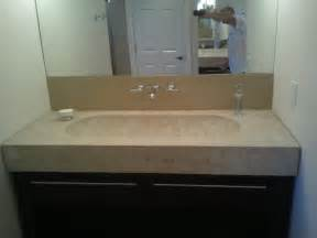 bathroom vanity with trough sink packed concrete make up table and vanity with